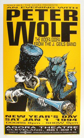 "Peter Wolf Poster from Agora Ballroom on 01 Jan 94: 17 3/4"" x 28 3/4"""