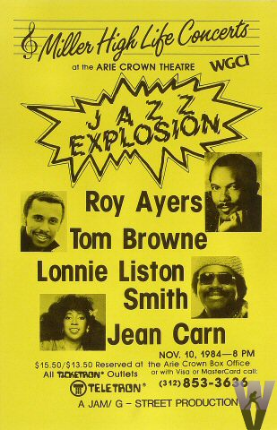 """Roy Ayers Poster from Arie Crown Theatre on 10 Nov 84: 11"""" x 17"""""""