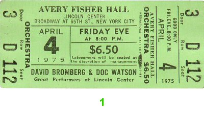 David Bromberg 1970s Ticket from Avery Fisher Hall on 04 Apr 75: Ticket One