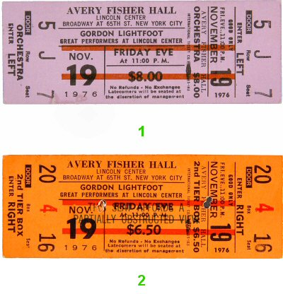 Gordon Lightfoot 1970s Ticket from Avery Fisher Hall on 19 Nov 76: Ticket Two