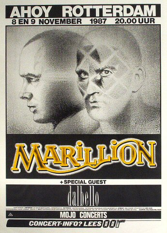 "Marillion Poster from Ahoy on 08 Nov 87: 32 3/4"" x 45 3/4"""