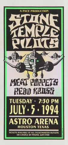 "Stone Temple Pilots Handbill from Astro Arena on 05 Jul 94: 4 1/4"" x 8 3/4"""