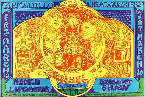 "Mance Lipscomb Handbill from Armadillo World Headquarters on 19 Mar 71: 7"" x 10 1/2"""