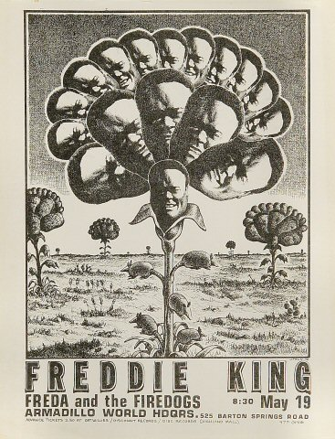 "Freddie King Handbill from Armadillo World Headquarters on 19 May 72: 8 1/2"" x 11"""