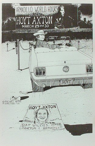 "Hoyt Axton Poster from Armadillo World Headquarters on 29 Mar 74: 11"" x 17"""