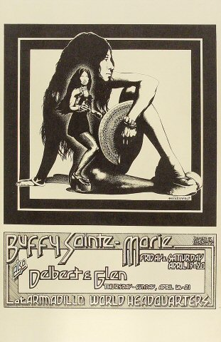 "Buffy Sainte-Marie Poster from Armadillo World Headquarters on 19 Apr 74: 11"" x 17"""