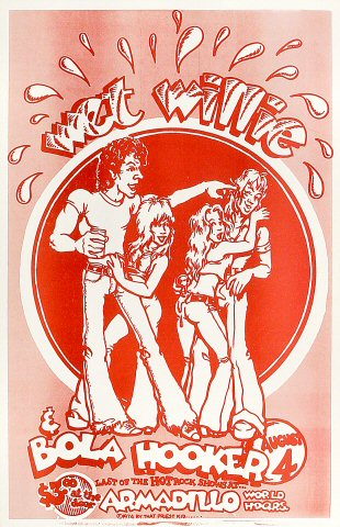 "Wet Willie Poster from Armadillo World Headquarters on 04 Aug 74: 11"" x 17"""