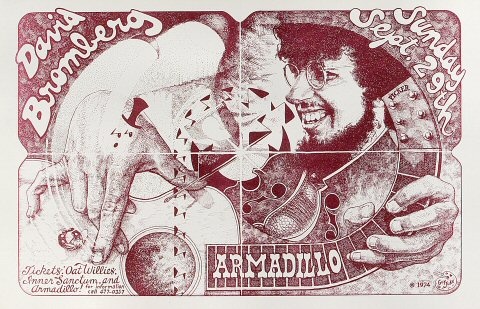 "David Bromberg Poster from Armadillo World Headquarters on 29 Sep 74: 11"" x 17"""