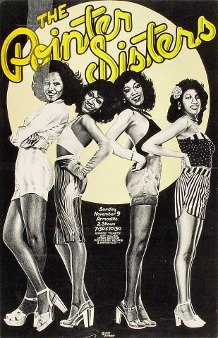 "The Pointer Sisters Poster from Armadillo World Headquarters on 09 Nov 75: 13 7/8"" x 21 1/2"""