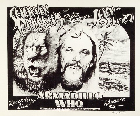 "Shawn Phillips Poster from Armadillo World Headquarters on 26 Jan 76: 11 5/8"" x 13 7/8"""