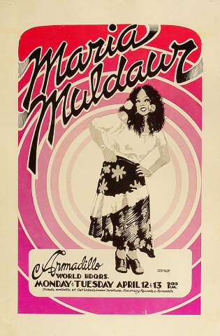 "Maria Muldaur Poster from Armadillo World Headquarters on 12 Apr 76: 11 1/2"" x 17 1/2"""