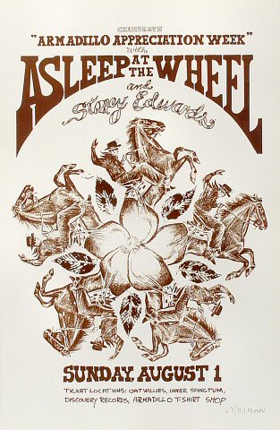"Asleep at the Wheel Poster from Armadillo World Headquarters on 01 Aug 76: 11 1/2"" x 17 1/2"""