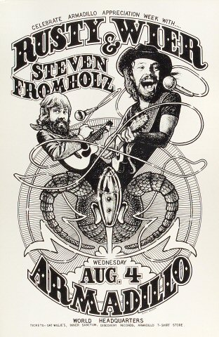 "Rusty Wier Poster from Armadillo World Headquarters on 04 Aug 76: 11 1/2"" x 17 1/2"""