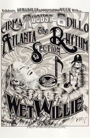 "Atlanta Rhythm Section Poster from Armadillo World Headquarters on 06 Aug 76: 11 1/2"" x 17 1/2"""