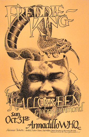 "Freddie King Poster from Armadillo World Headquarters on 31 Oct 76: 11 1/2"" x 17 1/2"""