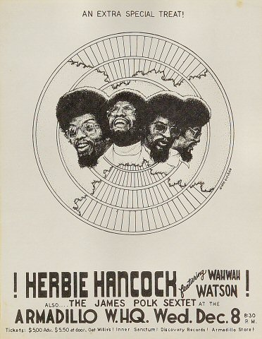"Herbie Hancock Handbill from Armadillo World Headquarters on 08 Dec 76: 8 1/2"" x 11"""