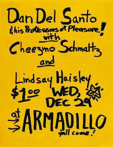 "Dan Del Santo Handbill from Armadillo World Headquarters on 29 Dec 76: 8 1/2"" x 11"""