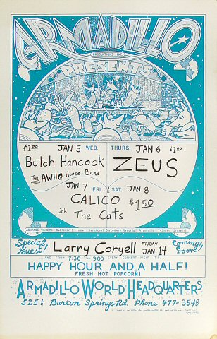 "Butch Hancock Poster from Armadillo World Headquarters on 05 Jan 77: 11"" x 17"""