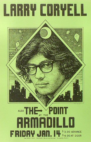 "Larry Coryell Poster from Armadillo World Headquarters on 14 Jan 77: 11"" x 17"""