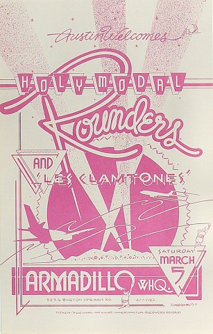 "The Holy Modal Rounders Poster from Armadillo World Headquarters on 05 Mar 77: 10 1/2"" x 16 5/8"""