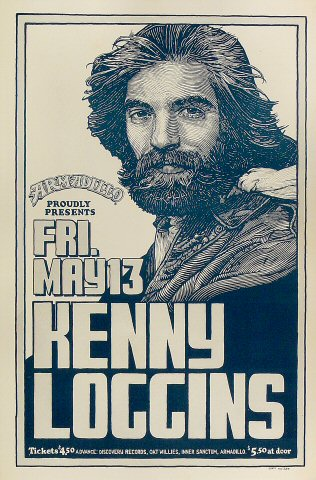 "Kenny Loggins Poster from Armadillo World Headquarters on 13 May 77: 11 1/2"" x 17 1/2"""