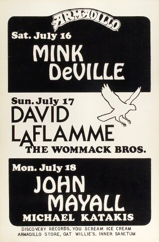 "Mink DeVille Poster from Armadillo World Headquarters on 16 Jul 77: 11 1/2"" x 17 1/2"""