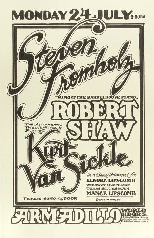 "Steven Fromholz Poster from Armadillo World Headquarters on 24 Jul 77: 11"" x 17"""