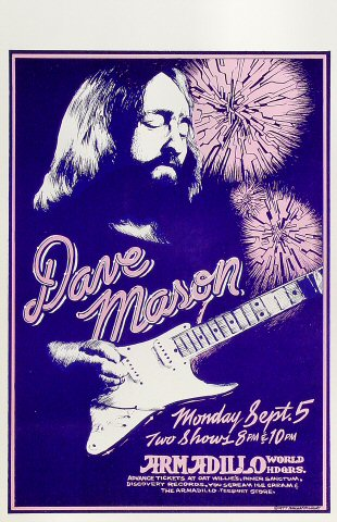 "Dave Mason Poster from Armadillo World Headquarters on 05 Sep 77: 11"" x 17"""