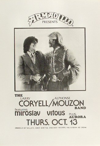 "Larry Coryell Poster from Armadillo World Headquarters on 13 Oct 77: 11"" x 16"""