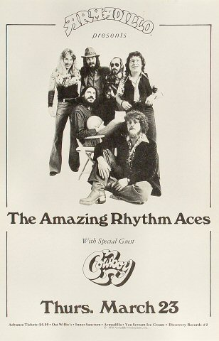 "The Amazing Rhythm Aces Poster from Armadillo World Headquarters on 23 Mar 78: 11"" x 17"""