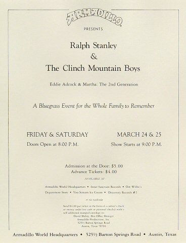 "Ralph Stanley Handbill from Armadillo World Headquarters on 24 Mar 78: 8 1/2"" x 11"""