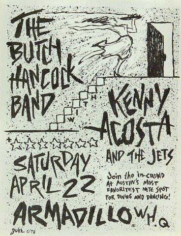 "Butch Hancock Handbill from Armadillo World Headquarters on 22 Apr 78: 8 1/2"" x 11"""