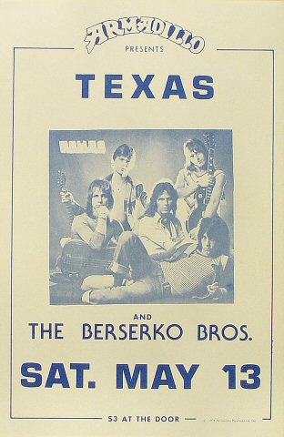 "Texas Poster from Armadillo World Headquarters on 13 May 78: 11 1/2"" x 17 1/2"""