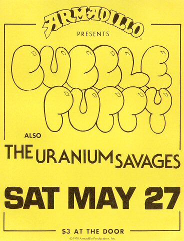 "Bubble Puppy Handbill from Armadillo World Headquarters on 27 May 78: 8 1/2"" x 11"""