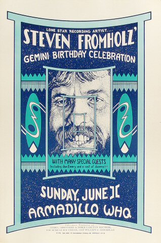 "Steven Fromholz Poster from Armadillo World Headquarters on 11 Jun 78: 11 1/2"" x 17 1/2"""
