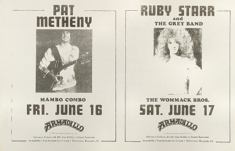 Pat Metheny Poster from Armadillo World Headquarters on 16 Jun 78: 11&quot; x 17&quot;