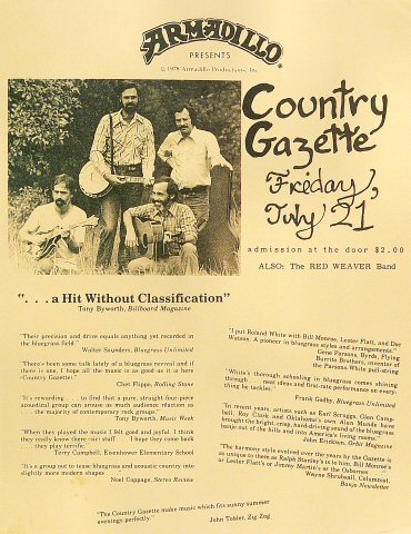 "Country Gazette Handbill from Armadillo World Headquarters on 21 Jul 78: 8 1/2"" x 11"""