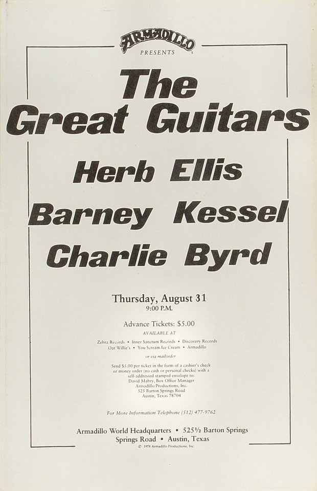 "Herb Ellis Poster from Armadillo World Headquarters on 31 Aug 78: 11"" x 17"""