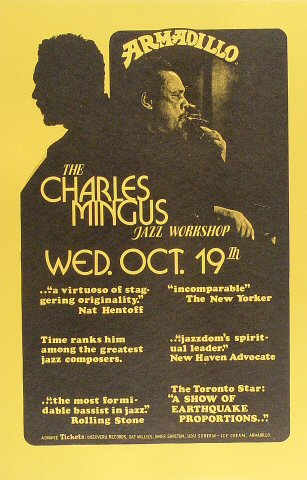 "Charles Mingus Poster from Armadillo World Headquarters on 19 Oct 78: 11"" x 17"""