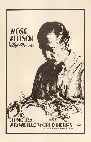 "Mose Allison Poster from Armadillo World Headquarters on 15 Jun 79: 11"" x 17"""