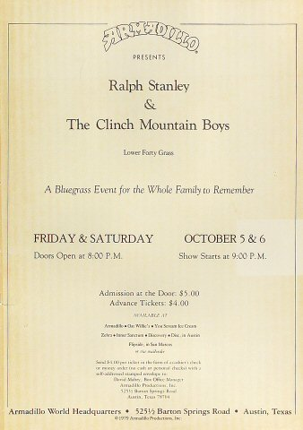 """Ralph Stanley Poster from Armadillo World Headquarters on 05 Oct 79: 11"""" x 15"""""""