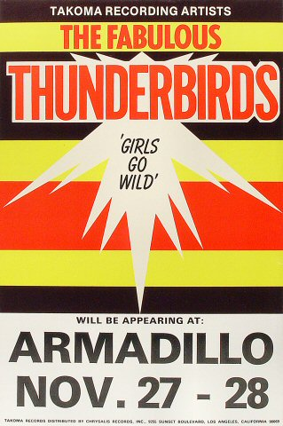 "The Fabulous Thunderbirds Poster from Armadillo World Headquarters on 27 Nov 79: 12"" x 18"""
