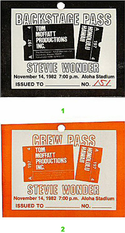 Stevie Wonder Backstage Pass from Aloha Stadium on 14 Nov 82: Pass 2
