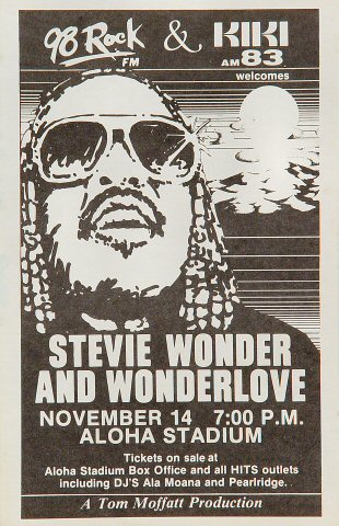 "Stevie Wonder Handbill from Aloha Stadium on 14 Nov 82: 5 1/2"" x 8 1/2"""
