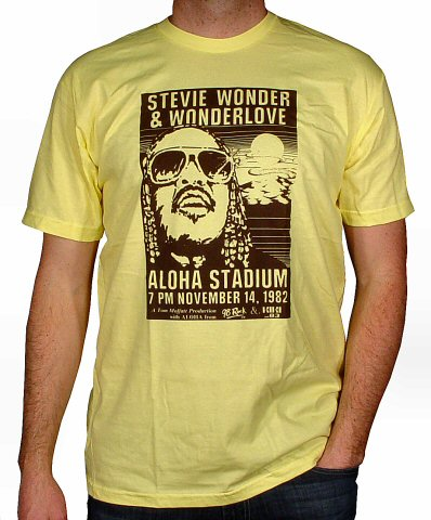 Stevie Wonder Men's Retro T-Shirt from Aloha Stadium on 14 Nov 82: XXX Large
