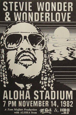 "Stevie Wonder Poster from Aloha Stadium on 14 Nov 82: 15"" x 22 1/2"""
