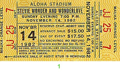 Stevie Wonder 1980s Ticket from Aloha Stadium on 14 Nov 82: Ticket One