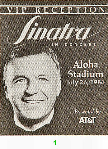 Frank Sinatra Backstage Pass from Aloha Stadium on 26 Jul 86: Pass 1