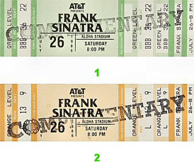 Frank Sinatra 1980s Ticket from Aloha Stadium on 26 Jul 86: Ticket One