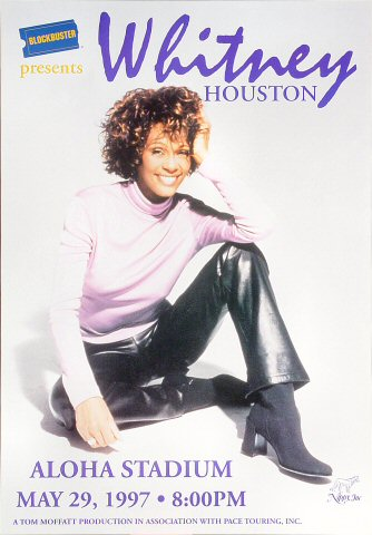 "Whitney Houston Poster from Aloha Stadium on 29 May 97: 11 3/4"" x 17"""